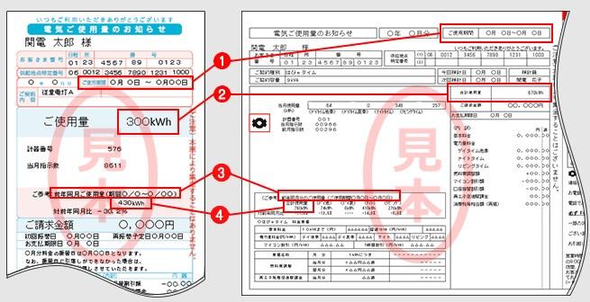 検針票のサンプル画像