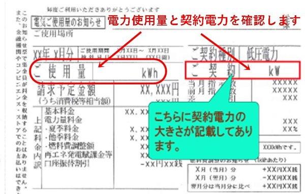 低圧電力の請求書(検針票)サンプル
